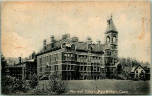 1908 New Britain, Connecticut Postcard Normal School Main Building ROTOGRAPH