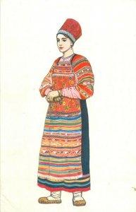 Woman clothes Vereya drawing by N. Vinogradova postcard