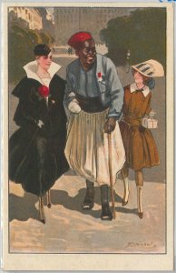 VINTAGE POSTCARD - Glamour, Ladies, Donnine - ARTIST SIGNED: ACHILLE MAUZAN 1918