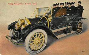 Detroit MI Police Department Flying Squadron Large Automobile Postcard.