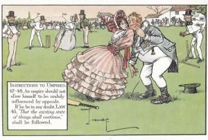 Woman in Fashion Dress Ballgown on Pitch Rare Cricketer Comic Humour Postcard
