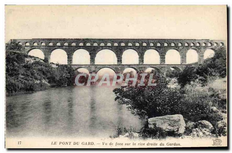 Old Postcard The Pont du Gard seen from the front on the right bank of the Ga...