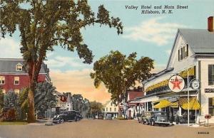 Hillsboro New Hampshire~Main Street~Valley Hotel~Texaco~Hat Shop~1939 Postcard