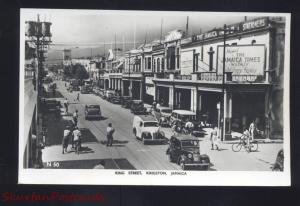 RPPC KINGSTON JAMAICA DOWNTOWN KING STREET OLD CARS REAL PHOTO POSTCARD