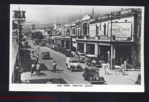 RPPC KINGSTON JAMAICA DOWNTOWN KING STREET OLD CARS REAL PHOTO POSTCARD