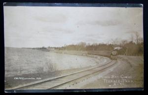 RPPC VINTAGE 1911 PHOTO POSTCARD PERCH BAY CURVE TERRACE PARK NY RAILROAD train