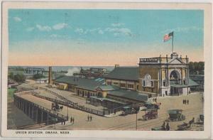 OMAHA NEBRASKA - UNION PACIFIC RAILROAD STATION + TRAINS 1910s