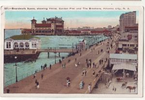 P867 1924 birds eye view boardwalk scene people buildings etc atlantic city nj
