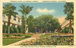 Carlsbad California Hotel San Diego Mineral Springs Postcard Teich linen 4128