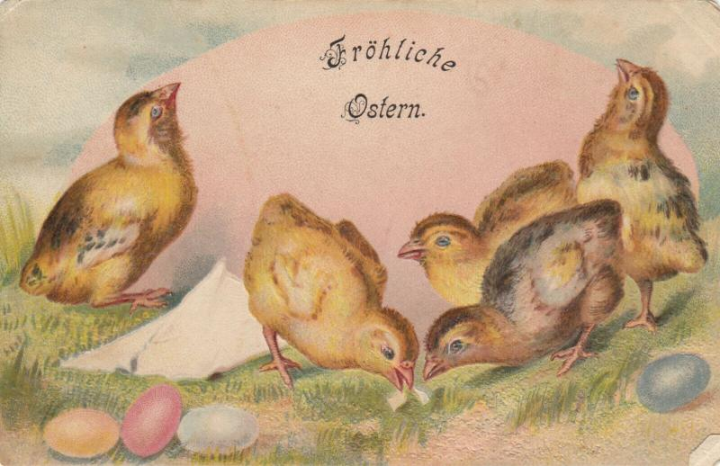 EASTER, 1900-10s; Frohliche Ostern, Chicks and colorful eggs