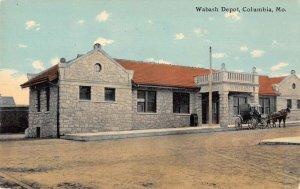 Columbia Missouri Wabash Depot Train Station Vintage Postcard AA13350