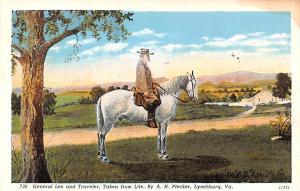 General Lee and Traveler, Lynchburg, VA Civil War Unused stain right top corner