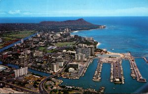 Hawaii Waikiki Beach & Diamond Head Aerial View 1971