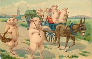 Humanized smocking pipe pig pigs fantasy J.C. Paris postcard donkey cart 1900s