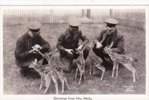 Michigan Greetings From Mio Feeding Young Deer Real Photo