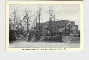 PPC POSTCARD NC NORTH CAROLINA SANFORD LEE COUNTY HOSPITAL NURSES HOME