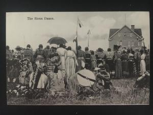 Mint 1907 Real Picture Postcard Native American Indian Sioux Dance Group outside