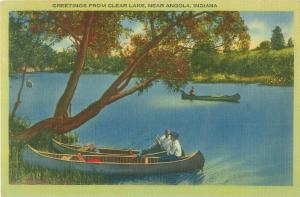 Canoes on Clear Lake Near Angola Indiana IN Vintage Linen Postcard
