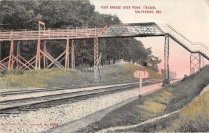 Valparaiso Indiana Foot Bridge over Penn Tracks Antique Postcard J72034