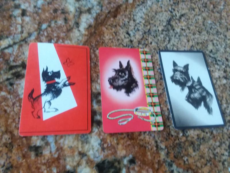 Three 1930s Playing Cards Scottish Terrier Scotty Dogs
