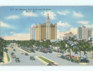 Linen OLD CARS & TREES ALONG STREET Miami Florida FL n1354