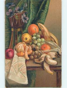 Pre-Linen STILL LIFE - FRUIT AND FLOWERS ON THE TABLE HL6471