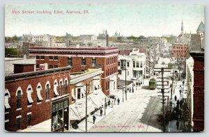 Aurora Illinois~Busy Fox Street Birdseye~Paris Lunch Room~Trolley~c1910 Postcard