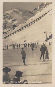 Murren Eisbahn Switzerland Antique Swiss Skating Postcard