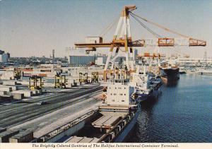 Canada Brightly Colored Gantries Halifax International Container Terminal Nov...