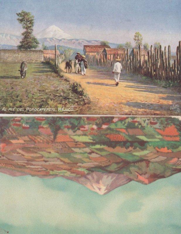 Popocatepetl Mexican 2x Antique Painting Postcard s