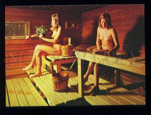 210079 Finland Finnish Sauna Nude girls   old postcard