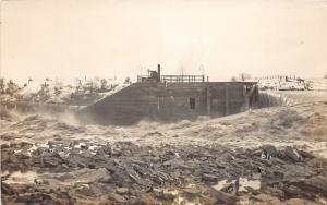F11/ Fremont Ohio RPPC Postcard c1913 Flood Disaster River 2