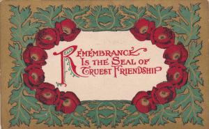 Red flowers, Remeberance is the Seal of Truest Friendship, PU-1910