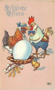 LP24  Easter Holiday Postcard Rooster Hen Nest  Dressed Chickens Fantasy