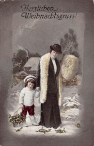 BG20377  woman with girl mistletoe  christmas weihnachten  germany
