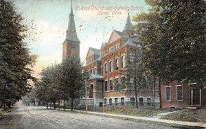 St. Rose Church & Catholic School, Lima, Ohio 1908 Vintage Postcard