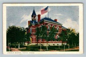 Newton KS, Lincoln School, Bell Tower, American Flag, Vintage Kansas Postcard