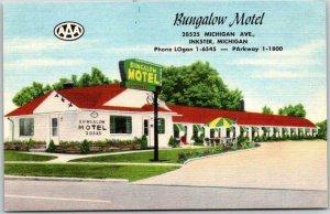 INKSTER, Michigan Postcard BUNGALOW MOTEL Route 112 Roadside LINEN c1950s Unused