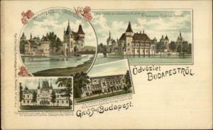 Gruss Aus Budapest Hungary Multi-View FINE LITHO c1900 Postcard