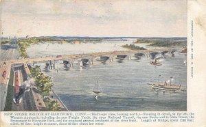 Hartford Connecticut 1907 Postcard New Stone Bridge at Hartford