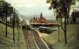 R.R. Station, Greenfield, MA, USA Railroad Train Depot Unused minor rounded c...