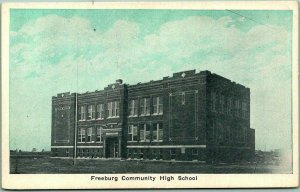 1920s Freeburg, Illinois Postcard FREEBURG COMMUNITY HIGH SCHOOL Building View