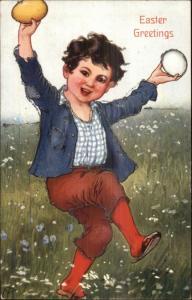 Happy Boy in Field EASTER c1910 Artist Signed Postcard rpx - Glitter