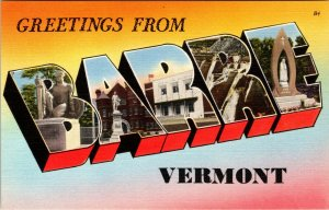 1940 LARGE LETTER POSTCARD  GREETINGS FROM BARRE VERMONT  W/SITES UNUSED
