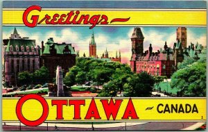 OTTAWA Ontario Canada Large Letter Postcard Bird's-Eye City View Linen c1940s