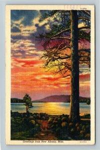 New Albany MS-Mississippi, Scenic Sunset Lakeshore Greeting, Linen Postcard