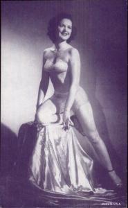 Sexy Burlesque Woman Semi-Nude Arcade Exhibit Card - Purple Tint #4