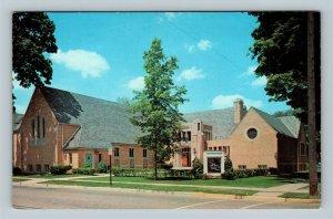 Greenville MI, First Methodist Church, Street View, Chrome Michigan Postcard