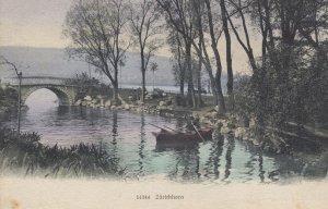 Old Man Rowing Boat at Zurichorn Switzerland Antique Postcard