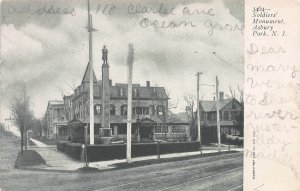 The Soldiers Monument, Asbury Park, New Jersey,  Early Postcard, Used in 1905